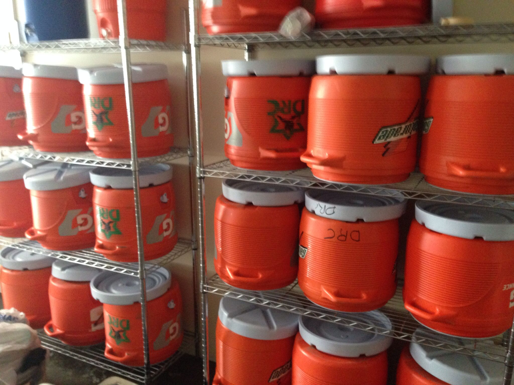 DRC water and electrolyte beverage coolers stored in our