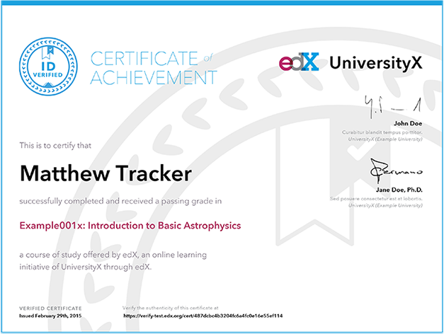 Edx Certificate Example  Saving Money    Online