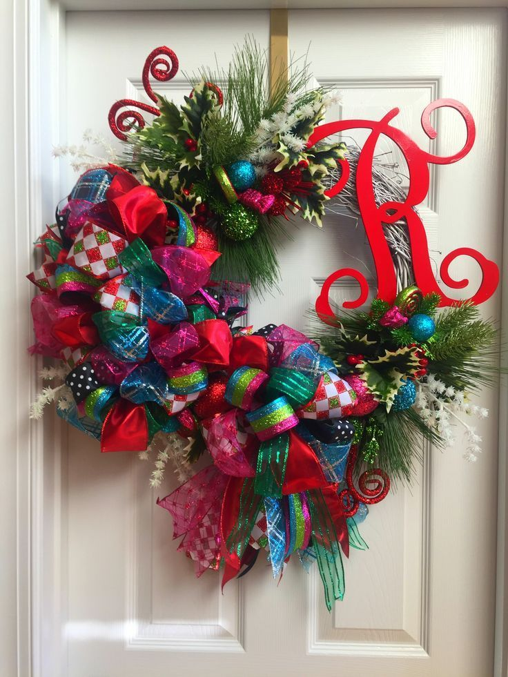 whimsical christmas grapevine wreath with initial entryway office door decor wwwwreathsgaloreandmore