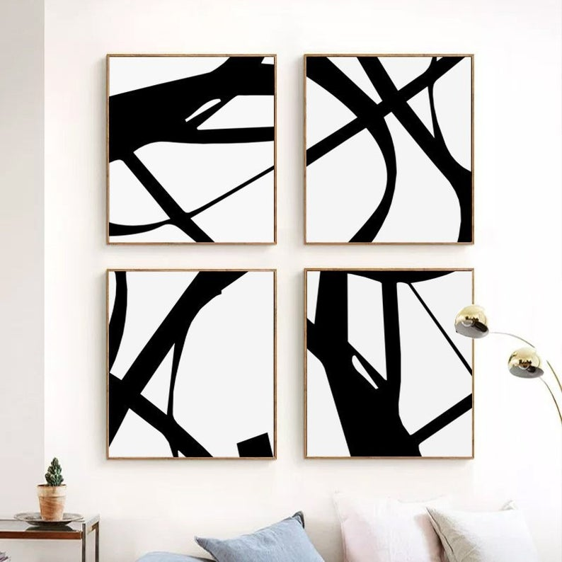 Black White Print Four Piece Wall Art Abstract Line Art Black Etsy In 2021 Modern Art Prints Artworks Minimalist Art Modern Art Prints