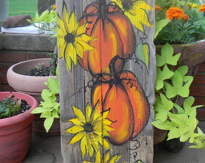 Wood lantern, made with rustic worn wood, Jack-O-Lantern for Halloween/ Fall Art decor for the patio or front porch by artist Bill Miller #oldpalletsforcrafting