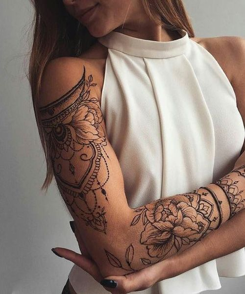 Decent Full Sleeve Half Mandela And Flower Tattoo Design With