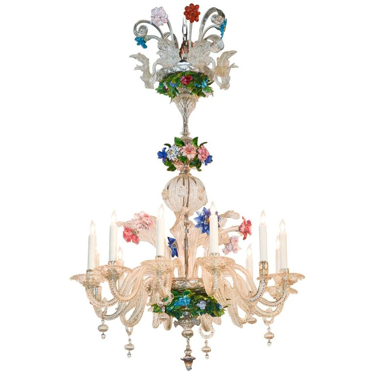 Venetian Multi Color Glass Chandelier Circa 1920 Glass