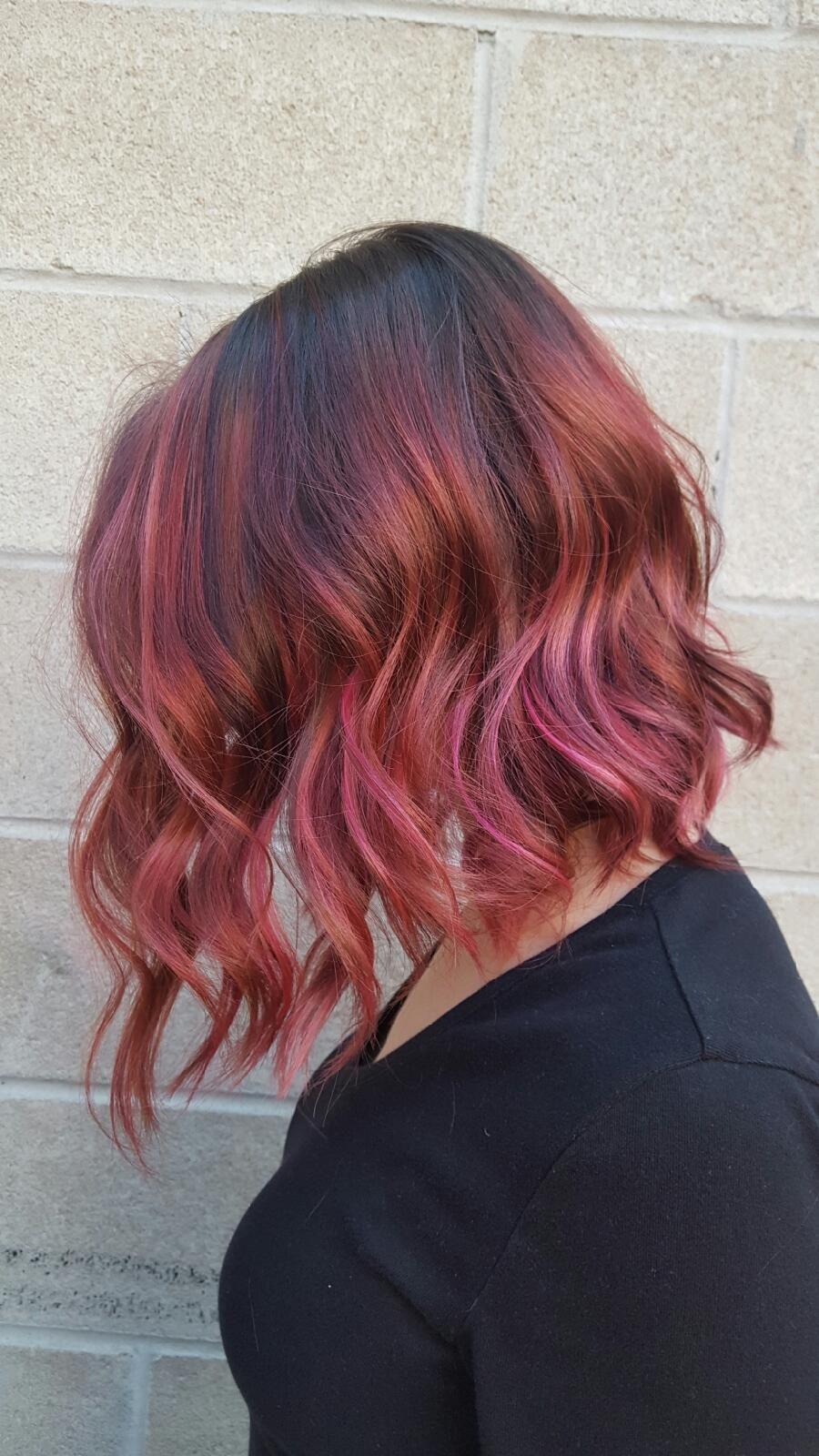 Raspberry, Caramel, Chocolate (dark Rose Gold) Hair With