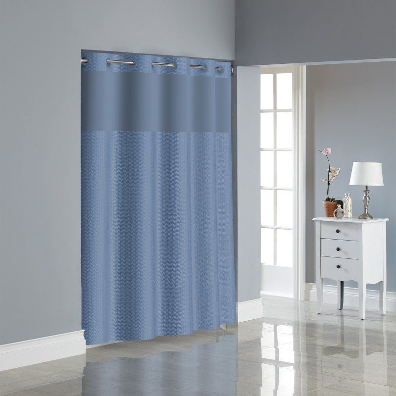 Hookless Herringbone Shower Curtain Set Midnight Blue - 82 ...
