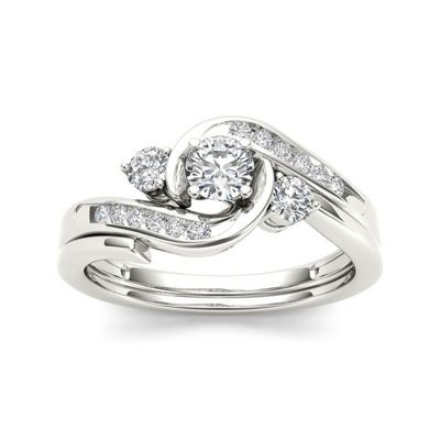 Buy 1 2 Ct T W Diamond 10k White Gold 3 Stone Bypass Ring Set At Jcpenney Com Today And Get Swirl Diamond Ring White Gold Diamond Rings Diamond Rings Design