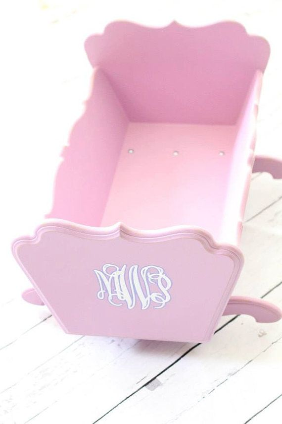 Monogram Baby Crib-Baby Bed-Doll Bed-Monogrammed-Personalized on Etsy, $120.00