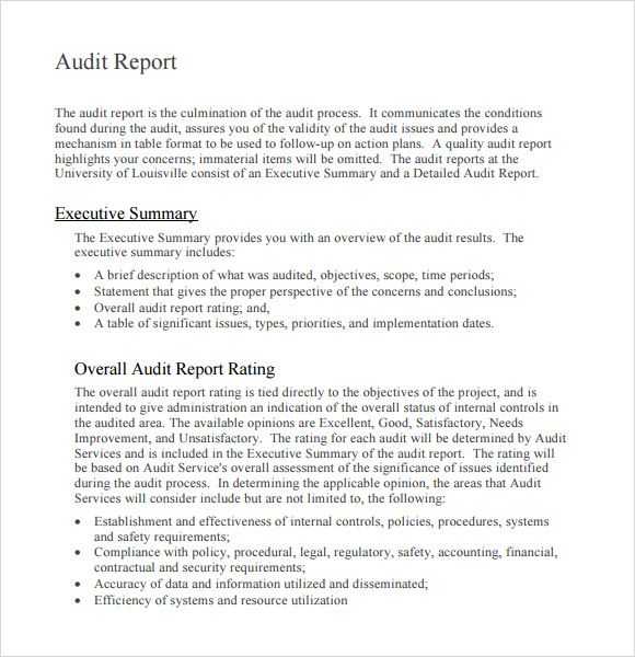 nice audit report format sample in word with executive summary and overall rating   thogati