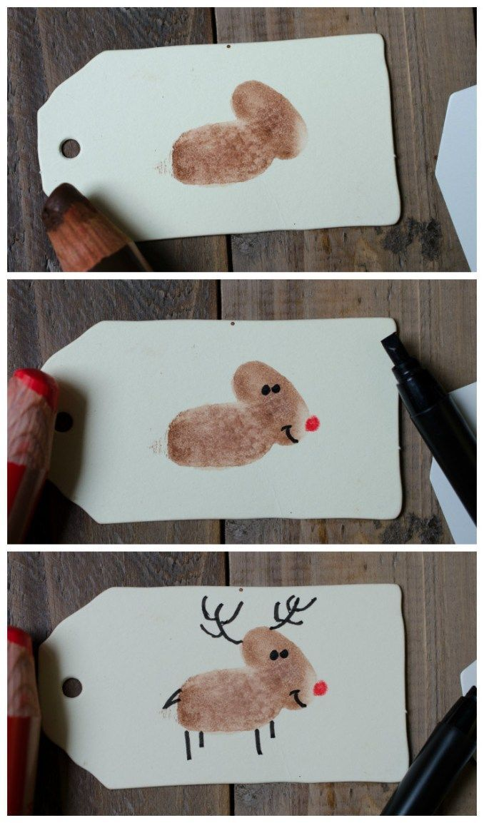 Photo of Gift tag with fingerprint – reindeer – green sprout