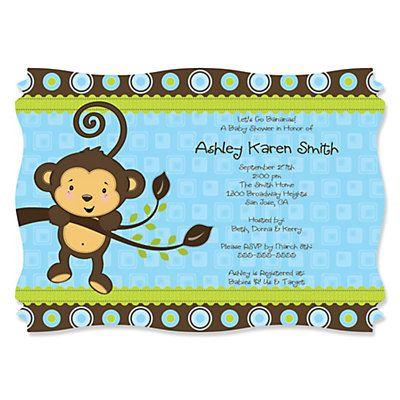 Blue monkey boy personalized baby shower invitations set of 12 free printable baby shower invitations boy personalized baby shower invitations bigdotofhappiness filmwisefo