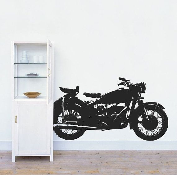 Classic Motorcycle Wall Decal Vintage Motorbike Wall Decal - Classic motorcycle custom stickers