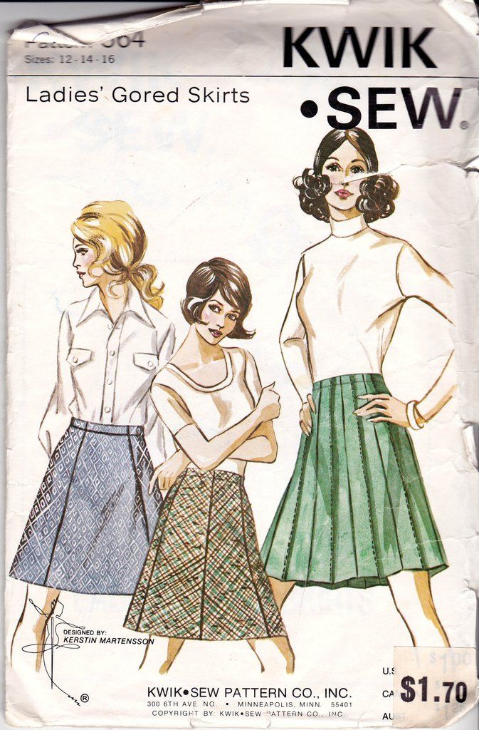 Kwik Sew 364 Womens Double Knit Gored Or Pleated Skirt 70s Vintage