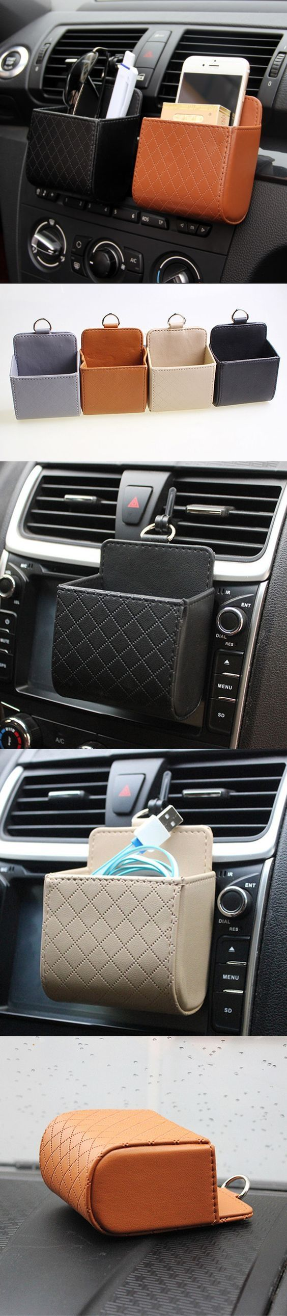 Auto Air Vent Car Storage Bag Multifunctional PU Phone