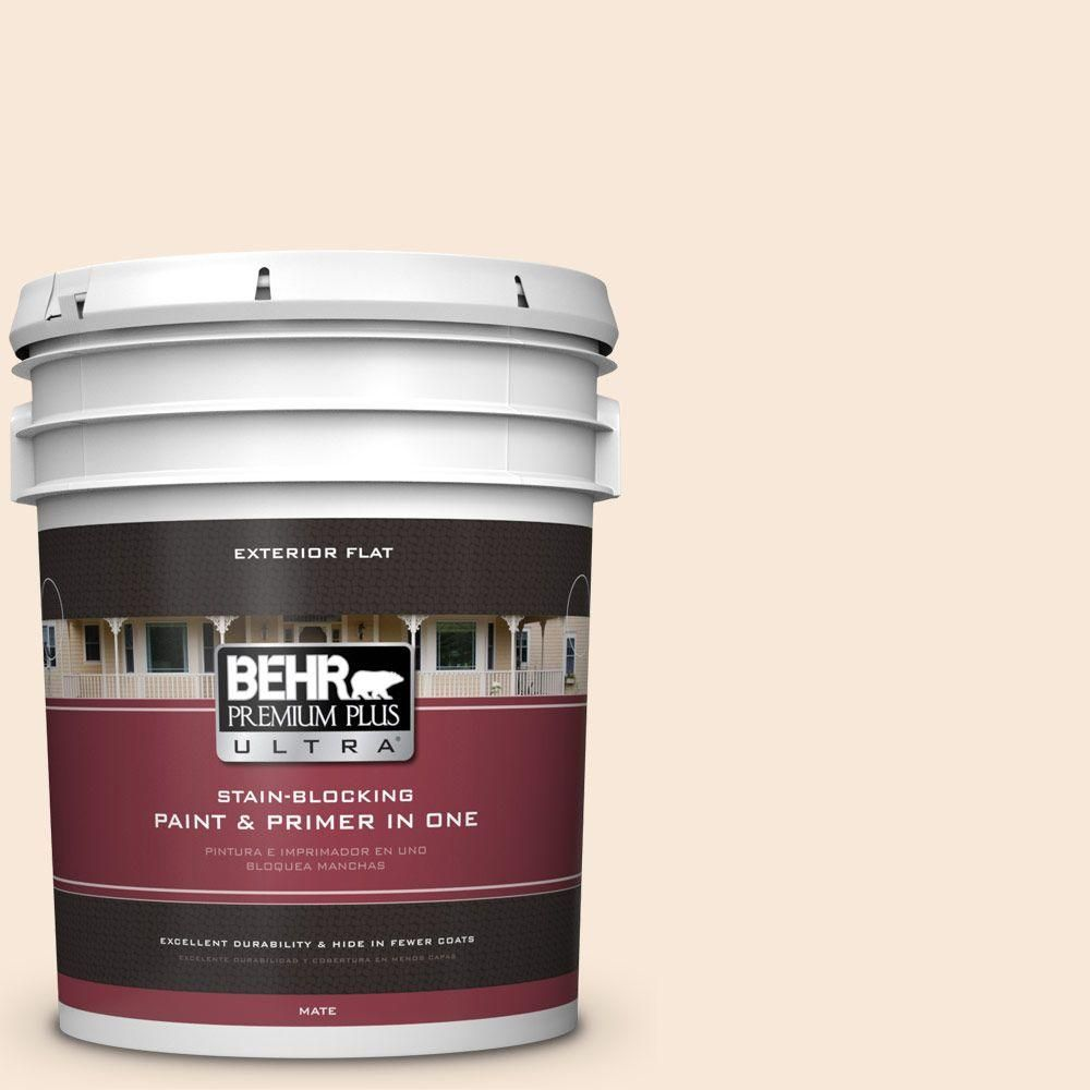 BEHR Premium Plus Ultra 5-gal. #RD-W14 Aria Ivory Flat Exterior Paint