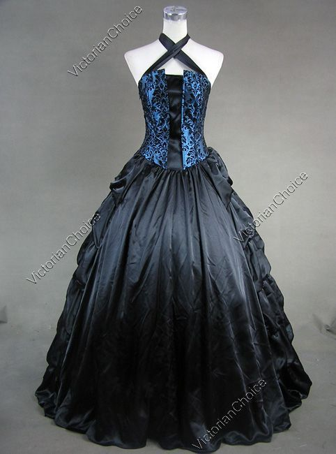 Victorian Gothic Satin Corset Ball Gown Prom Dress Reenactment ...