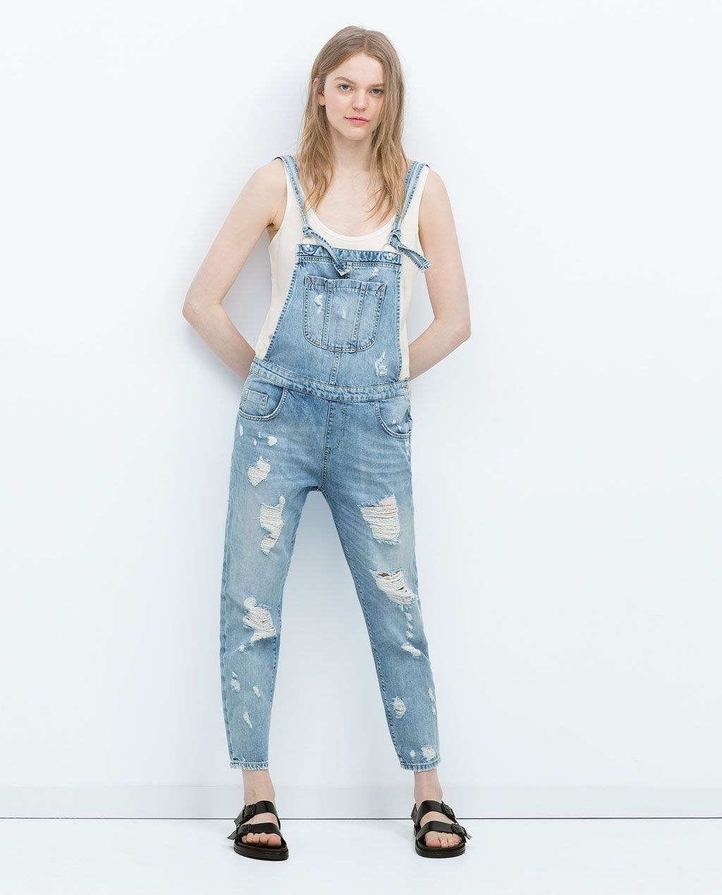 bf9c0e90589 RIPPED DENIM DUNGAREES-Jumpsuits-WOMAN | ZARA United States | StYLe ...