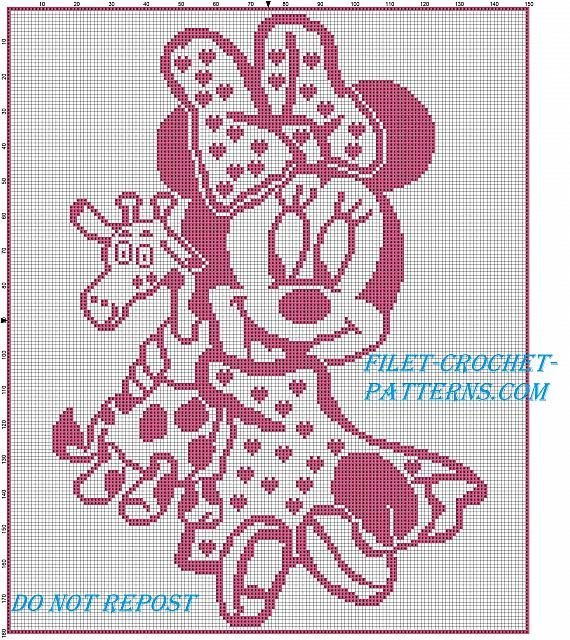 Filet Crochet Baby Blanket With Disney Baby Minnie With Giraffe