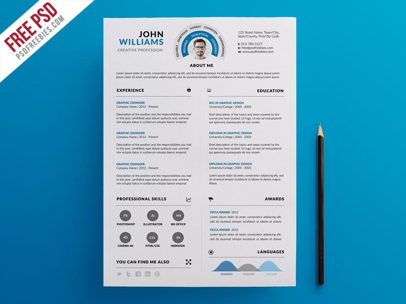 Clean and Infographic Resume PSD Template Infographic resume - infographic resume