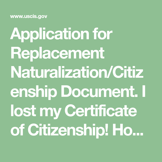 Application For Replacement Naturalizationcitizenship Document I