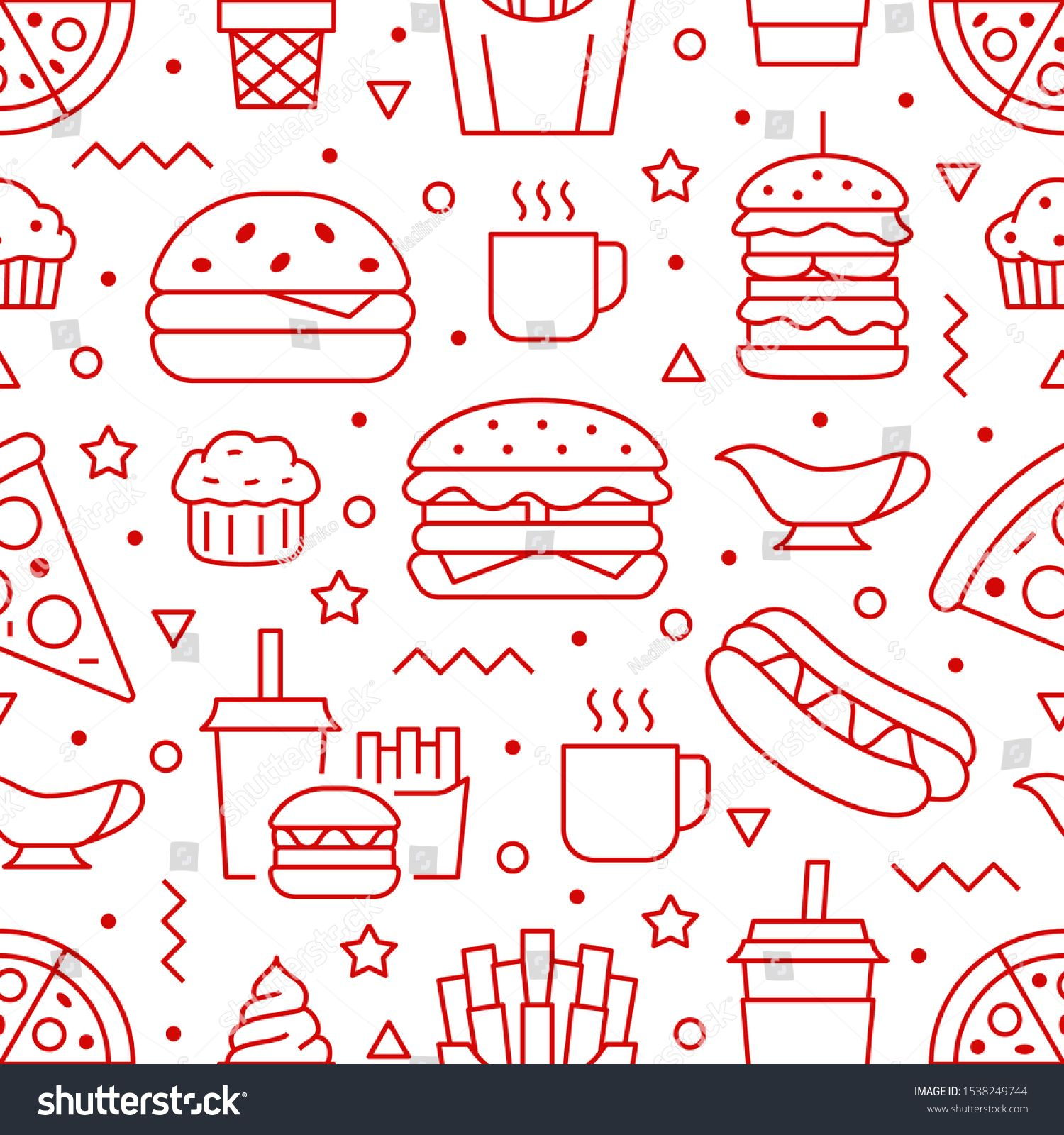 Fast food seamless pattern with vector line icons of
