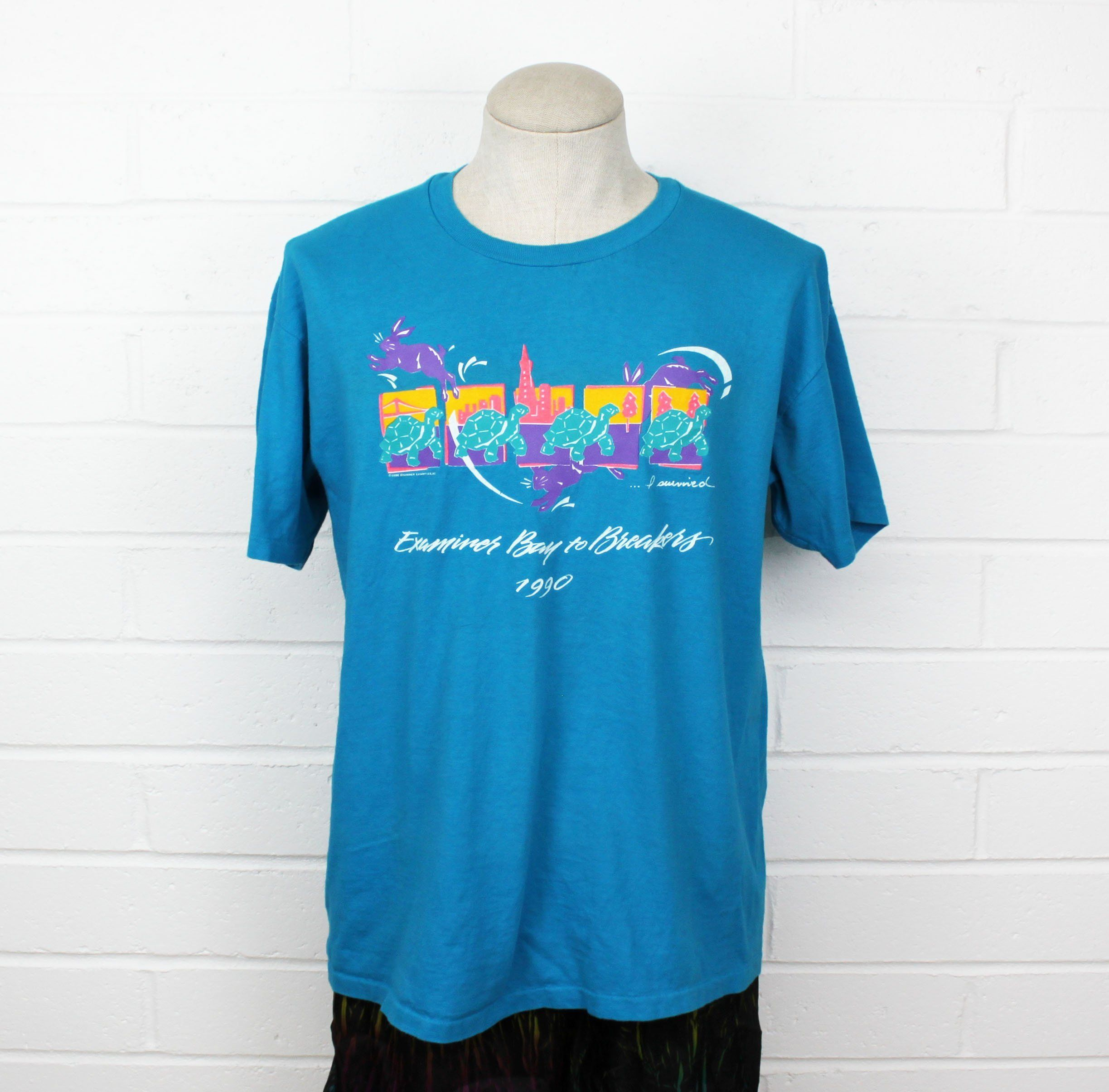 e5dcf620694ce Vintage 90s Marathon Running Shirt Large Bay to Breakers San Francisco  Turtles City I Survived Electric Blue Tee T Shirt by Nack4VintageShop on  Etsy