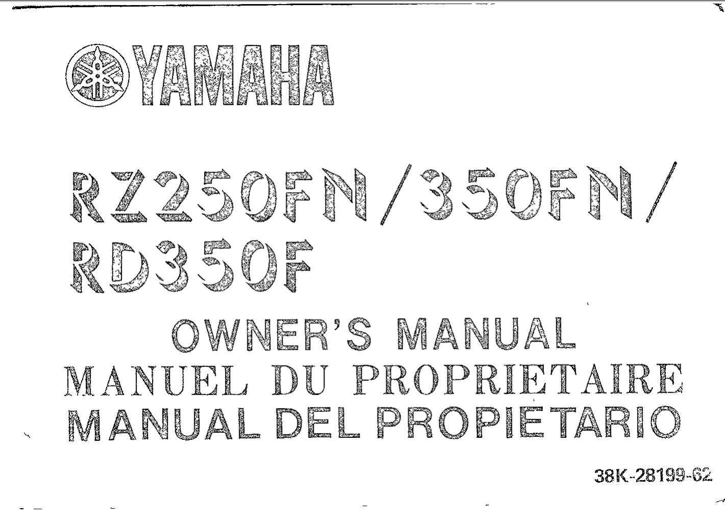 Yamaha Rz250fn 350fn Rd350f 1985 Owner S Manual In 2020 Manual Yamaha Owners Manuals