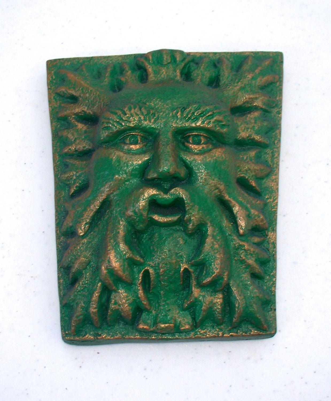 Keystone Green Man Leaf Man Sculpture Wall Hanging Garden Art Plaque