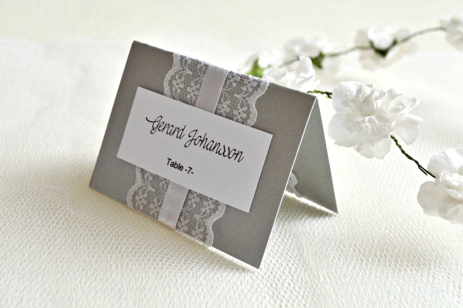 Lace wedding place cards (set of 20), escort cards, seating cards ...