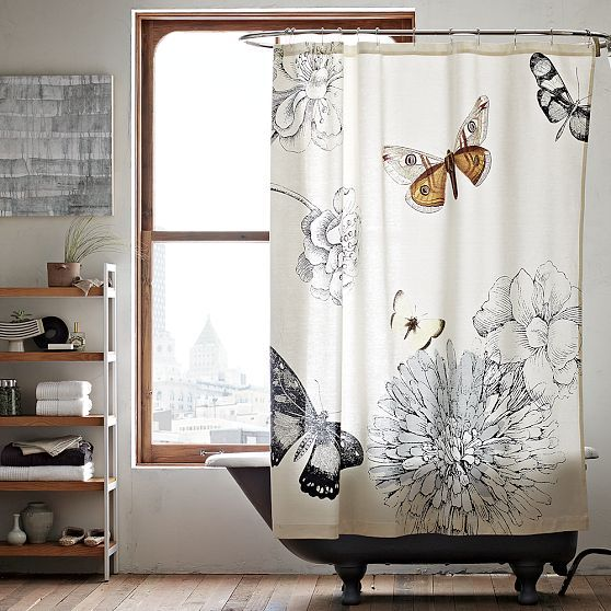 Love this black and white bathroom - great play of natural wood colour as well. Curtain from West Elm.