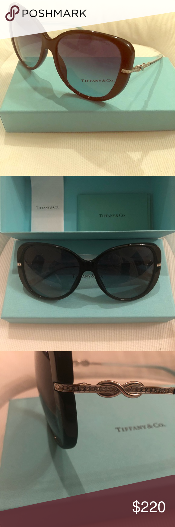 0115395284a Tiffany polarized butterfly glasses TF-4126B Butterfly polarized glasses  with rhinestone infinity on each stem. They are still brand new in original  box ...