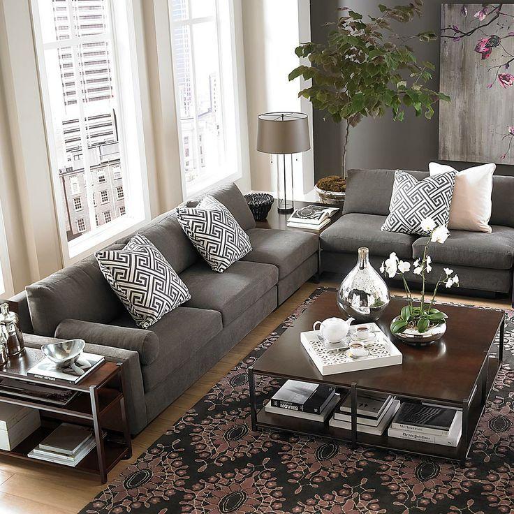 Bassett Furniture Gray Sofa Beige Walls L Shaped Sectional