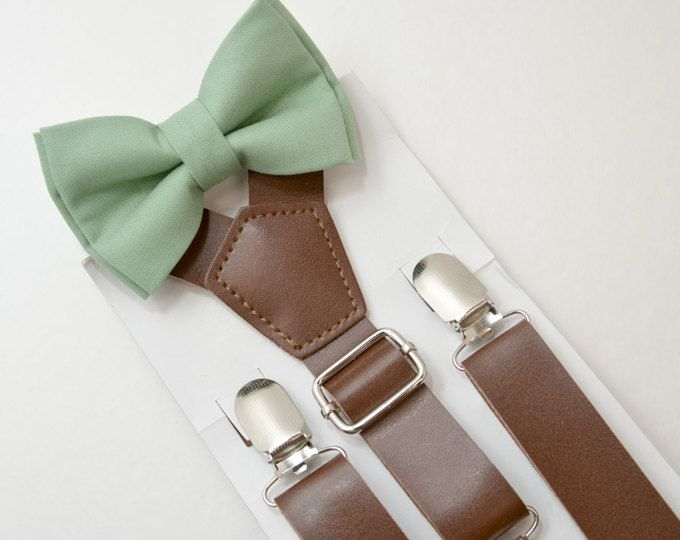 4728f1d79de Suspenders SET 8months- Adult Kids Mens Baby Boys Wide Dark Brown PU Leather  Suspenders   Sage Green bow tie Wedding Groom Page Boy SET