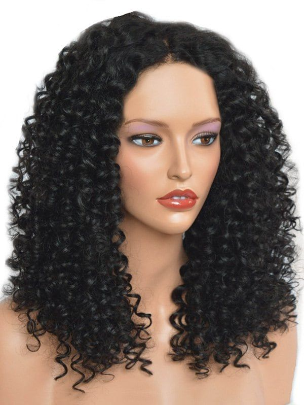 Center Parting Medium Synthetic Curly Wig Perruques Frisees Perruque Differentes Coiffures