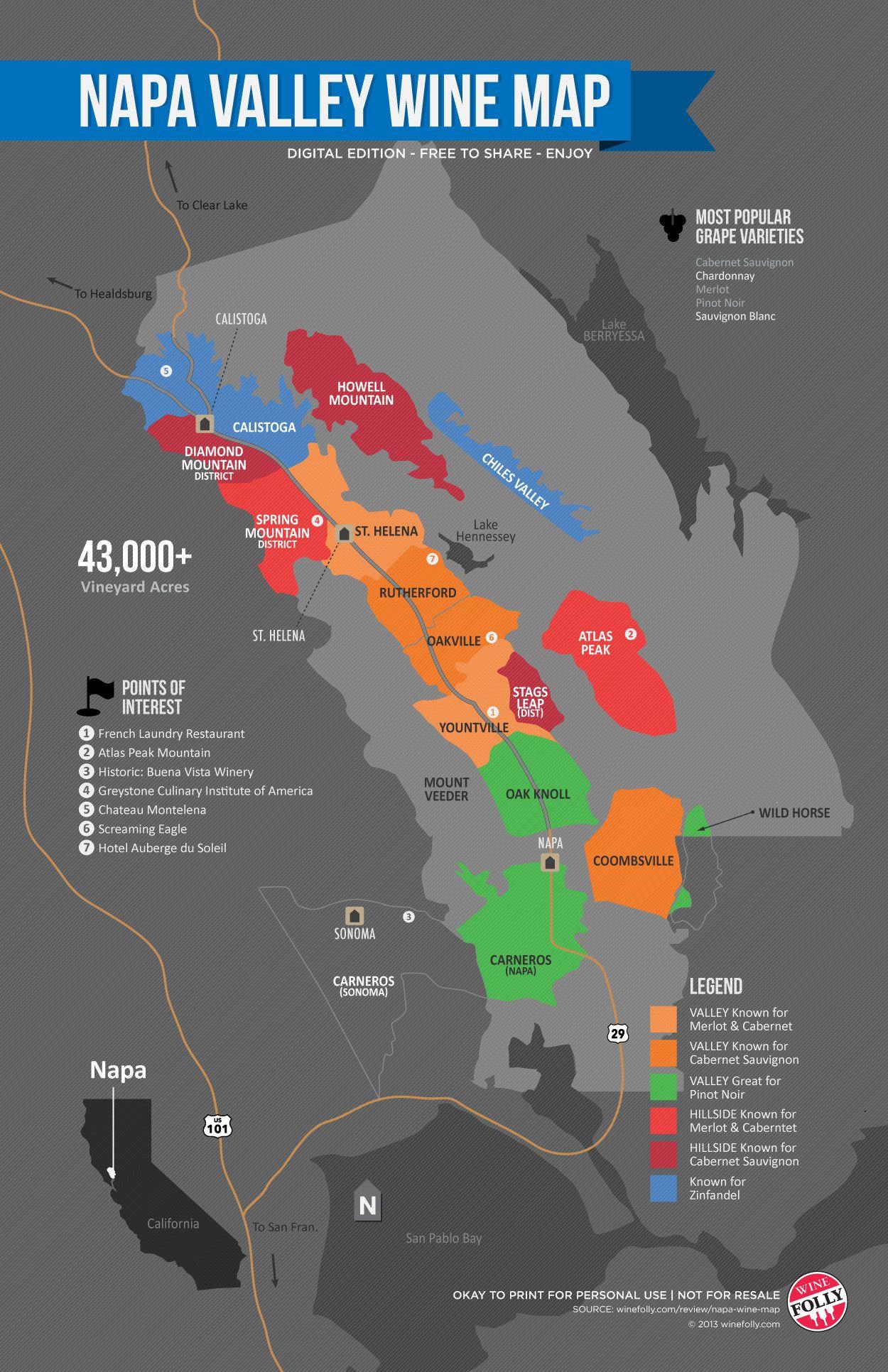 Napa Valley Wine Map Drinks Alcohol Pinterest Napa Valley - Napa valley vineyard map