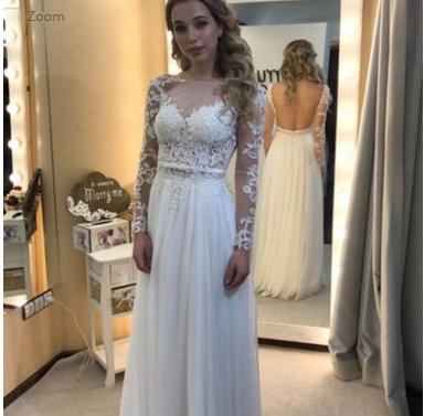 Elegant ALine Wedding Dress Bateau Chiffon FloorLength