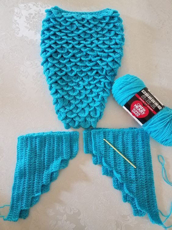 Crochet Crocodile stitch Mermaid tail with double layer fins using ...