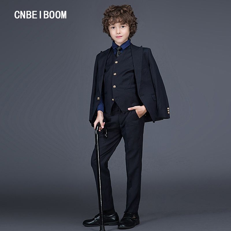 8a924ee0f469 Gentleman Style Kids Boys Suits Black Stripe Clothing Sets (Jacket+Pants+ Vest)