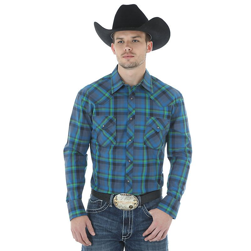 Wrangler Men's 20X AC Long Sleeve Western Snap Plaid Shirt:BlueGreen (Size: XXL) Blue