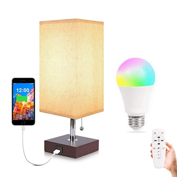 Usb Table Lamp Aooshine Usb Bedside Lamp With Remote Control Rgbw Dimmable A15 E26 Led Bulb Color Changing Mode Suitable For Bedr Bedside Lamp Lamp Led Bulb