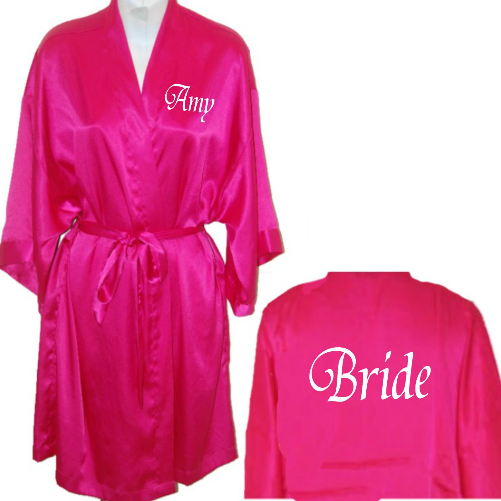 Personalised Hot Pink Satin Robe / Dressing Gown His & Hers Wedding ...
