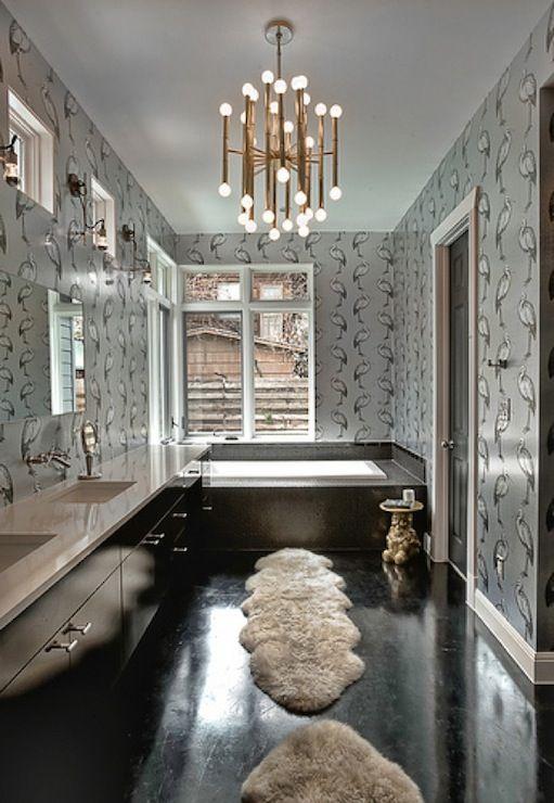 glossy black wood floors & vanity | silver metallic wallpaper