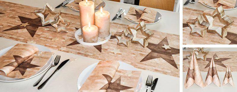 Tischdeko weihnachten braun  Tischdeko Weihnachten Braun/Blau mit Engeln | Tischdeko ...