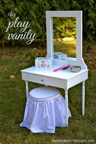 diy vanity for little girl. That S My Letter  P Is For Play Vanity Diy Kids Play Vanity With Free Build Plans From Ana White DIY Stair Baluster Tutorial