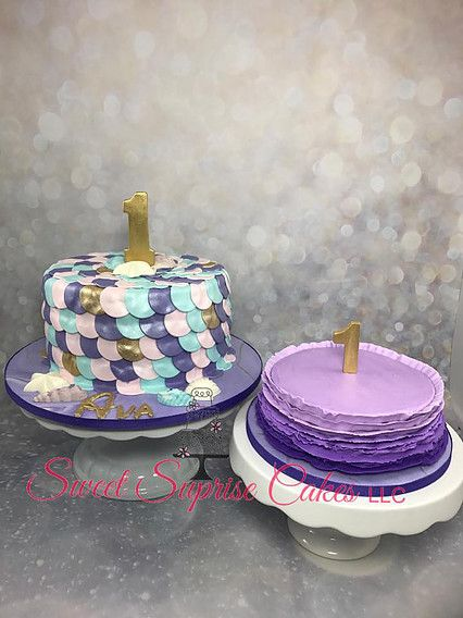 Mermaid Scales Cake with pearlized finish Purple Ombre smash cake