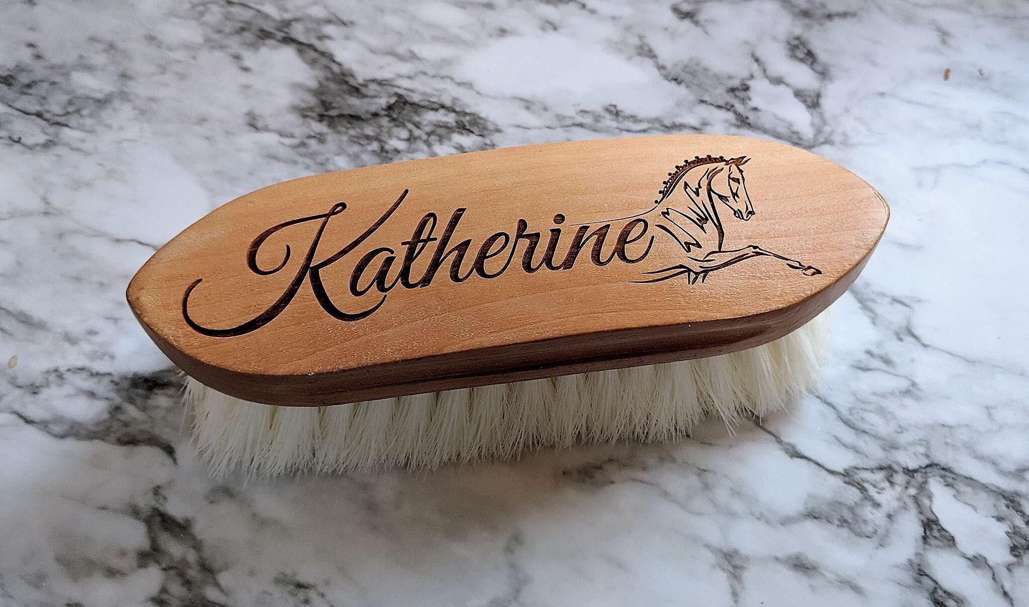Beautiful custom engraved horse brush soft finishing
