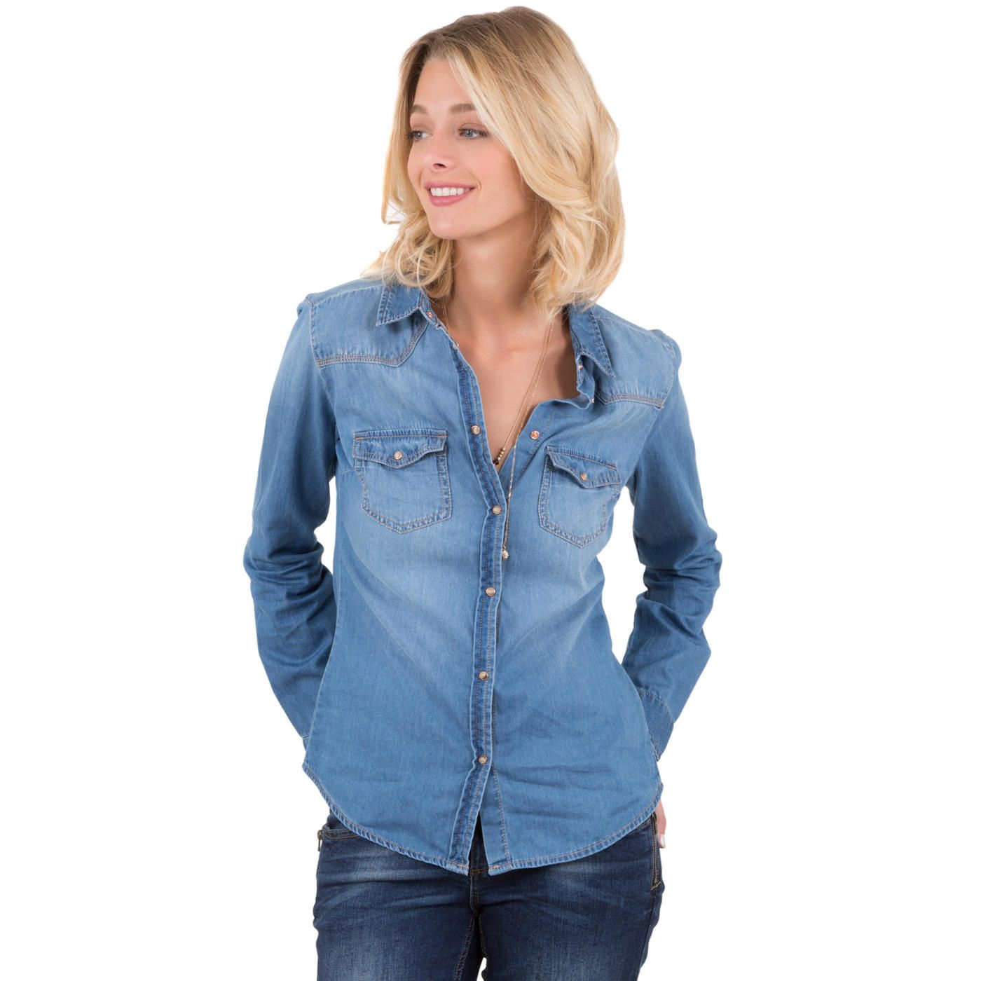 Chemise Jean Longue pour cette chemise femme en jean est un indispensable de votre dressing