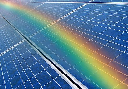 A Solar Panel With Rainbow Cool Stuff