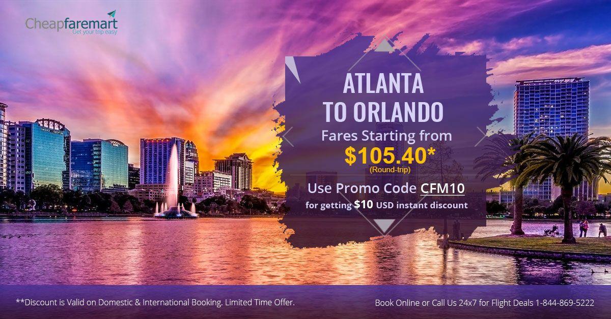Book #CheapFlights - Atlanta to Orlando - Fares starting from $48.40* for Round-trip. Call @ 1-844-869-5222 or Book online at #Cheapfaremart  Official Website: www.cheapfaremart.com  #Travel #Flights #CheapFlight #CheapAirTicket #FlightsToOrlando
