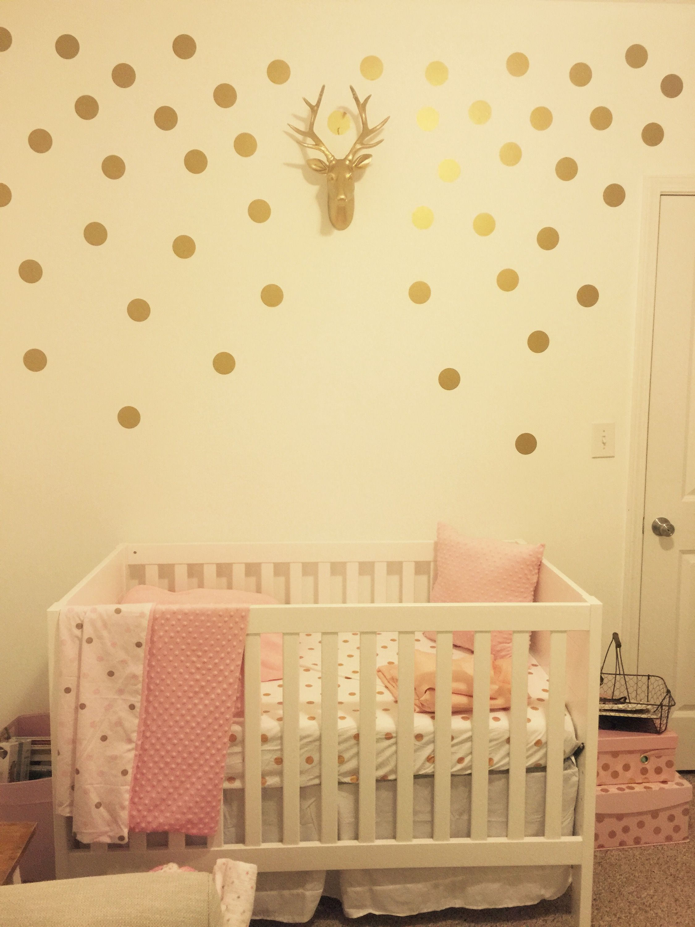 Pink and gold baby girl nursery- gold dotted wall, decals from Land ...