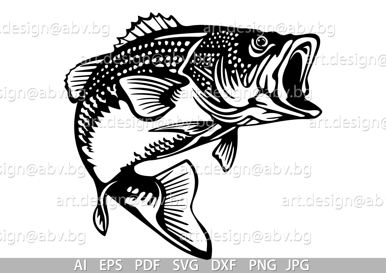 Vector Fish Largemouth Bass Ai Eps Pdf Png Svg Dxf Jpg Etsy Graphic Image Artwork Largemouth Bass